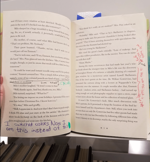 Inside of a Library Book that is Part of the Margi Project