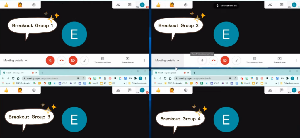 Example of how you can monitor multiple breakout rooms in Google meet.